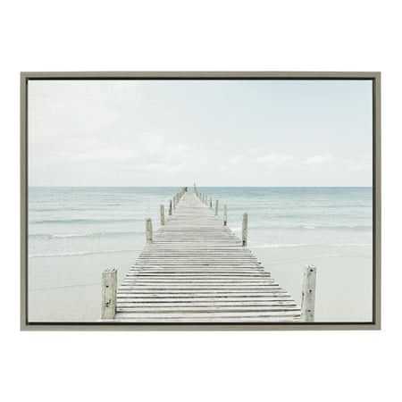 Kate and Laurel Sylvie Wooden Pier On The Beach Framed Canvas by Amy Peterson, 23x33 Gray, Coastal Calming Wall Decor For Your Living Room, Bedroom, Or Bathroom ()