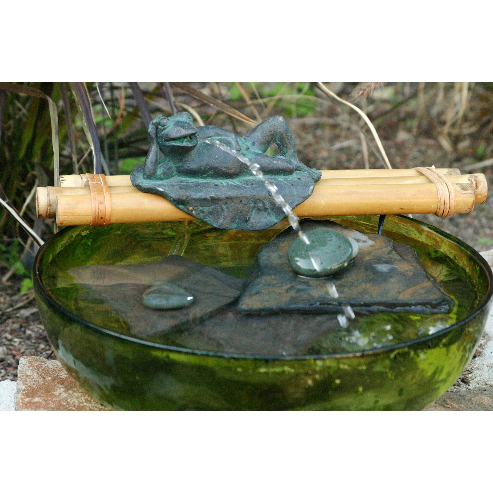 Bamboo Accents Frog Figurine On Spout and Pump Fountain Kit