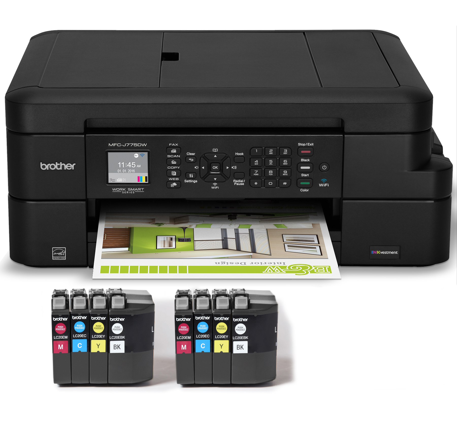 Brother MFC-J775DWL Color Inkjet All-in-One Printer with up to 2 Years of Ink (8 INKvestment Cartridges Included)