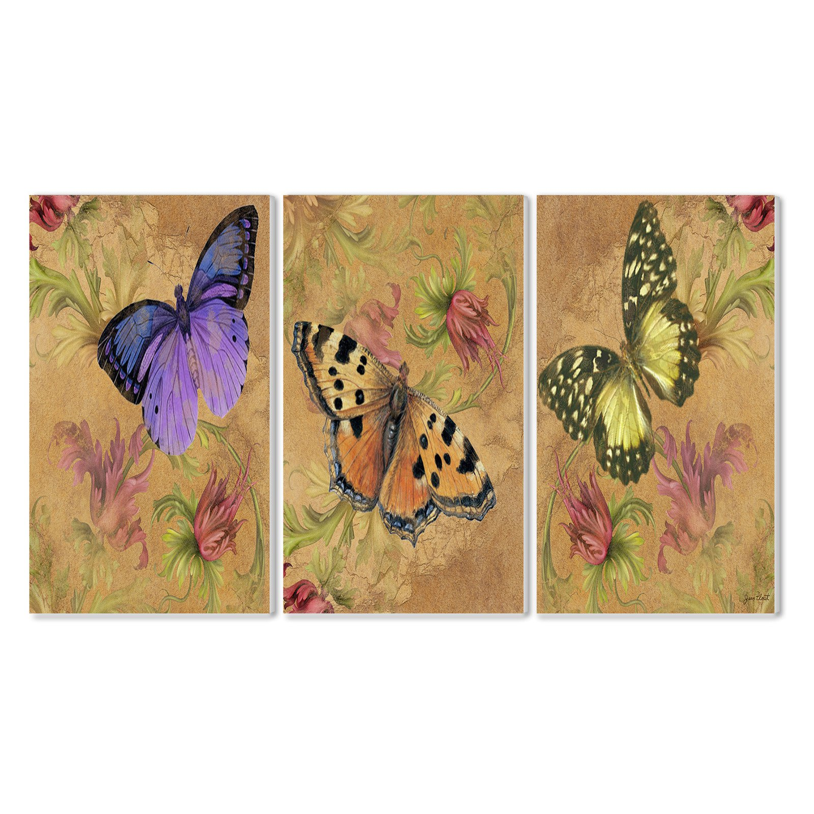 The Stupell Home Decor Collection Butterfly Garden Wall Plaque - Set of 3