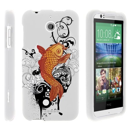 HTC Desire 510, [SNAP SHELL][White] 2 Piece Snap On Rubberized Hard White Plastic Cell Phone Case with Exclusive Art -  Koi - Fish Mobile