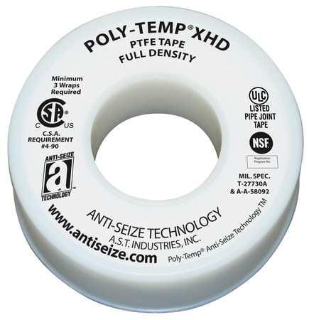 Thread Sealant Tape,1/2 In. W,260 In. L ANTI-SEIZE TECHNOLOGY 46230