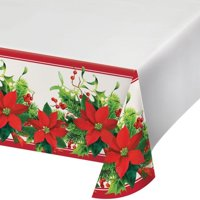 """Creative Converting Holiday Poinsettia Plastic Tablecloth, 54"""" X 102"""""""
