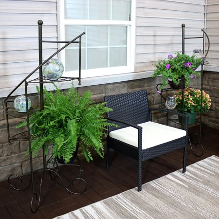 Sunnydaze 4-tier Metal Iron Plant Stand, Spiral Staircase Design, Set of 2, 56-inch Tall Iron Stand