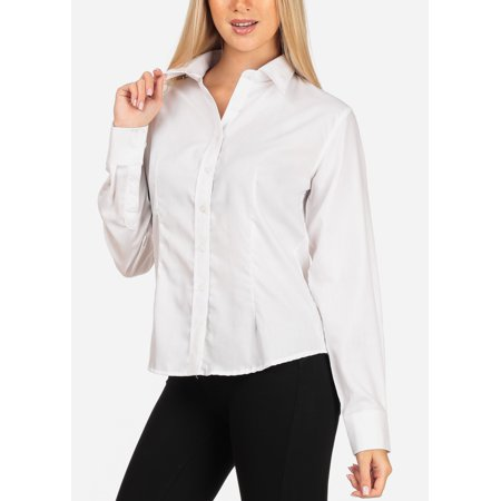 Cowgirl Formal Wear (Womens Juniors Women's Junior Lady Casual Formal Professional Business Career Wear Long Sleeve White Shirt Blouse)