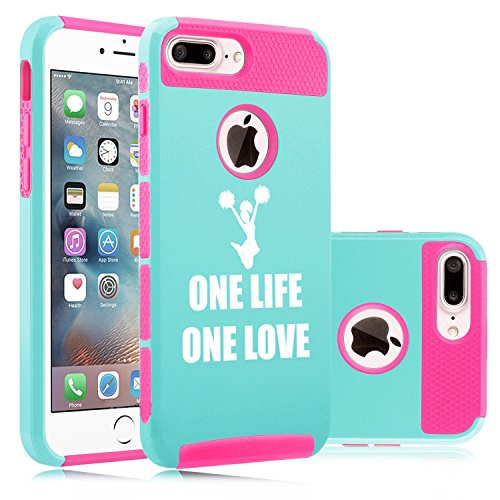 For Apple iPhone (7 Plus) Shockproof Impact Hard Soft Case Cover One Life Cheer (Light Blue-Hot Pink)