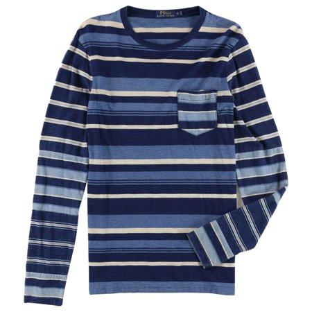 Ralph Lauren Mens Stripe Cotton Basic T-Shirt, Blue, Small