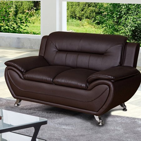 US Livings Anika Faux Leather Modern Loveseat ()