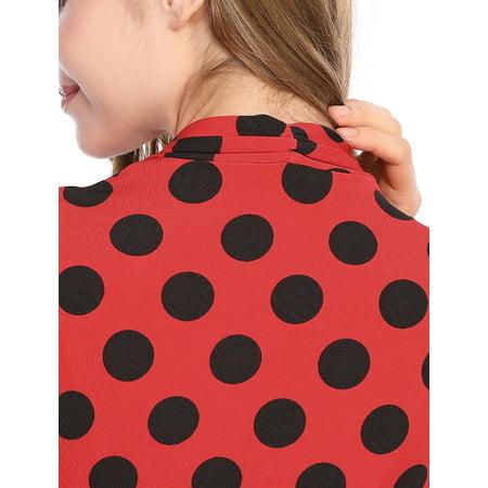2f022c1ae41b catan - allegra k women's dots tie waist above knee christmas wrap dress s  warm red black - Walmart.com