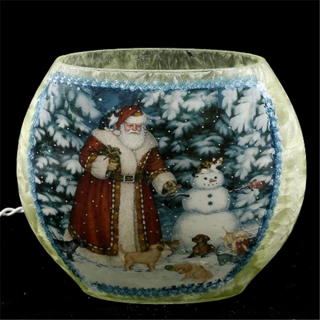DecorFreak Santa Oval Glass Jar - - Santa & Snowman