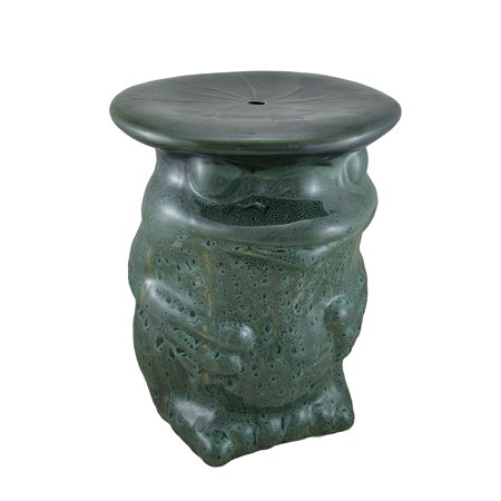 Green Ceramic Frog W Lilypad Garden Stool Plant Stand