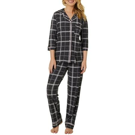 Jaclyn Intimates Womens Striped Collar Pajama Pants Set