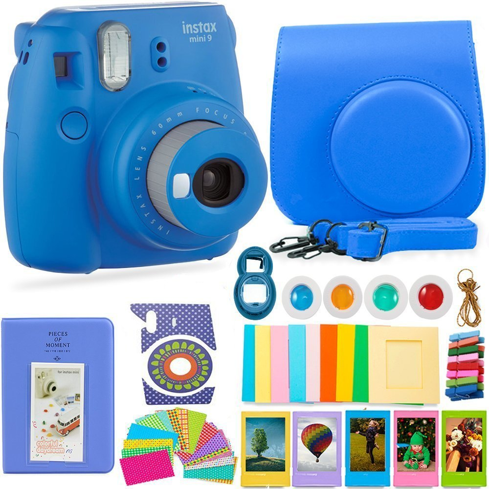FujiFilm Instax Mini 9 Camera + Protective Case/ Hanging Frames/ 4 Filters/ Selfie Lens/ Photo Album/ Stickers and More - Portable & Perfect Gift - Smokey White