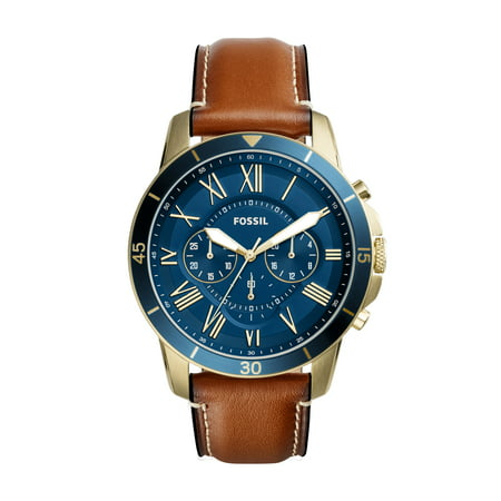 Fossil Men's Grant Chronograph Blue Dial Leather Watch FS5268 (Fossil Watch Color)