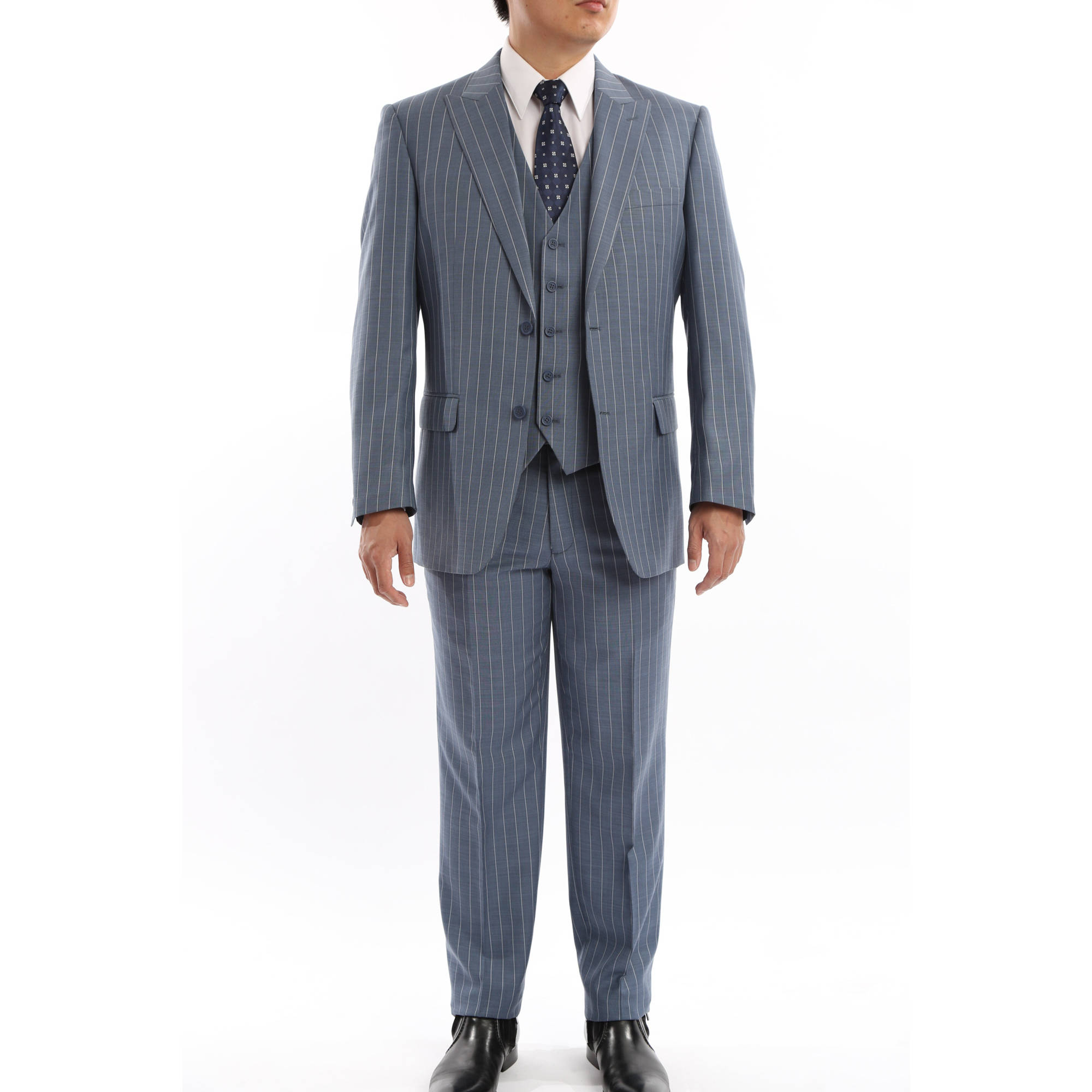 Verno Men's Blue and Grey Striped Classic Fit Italian Styled Three Piece Suit