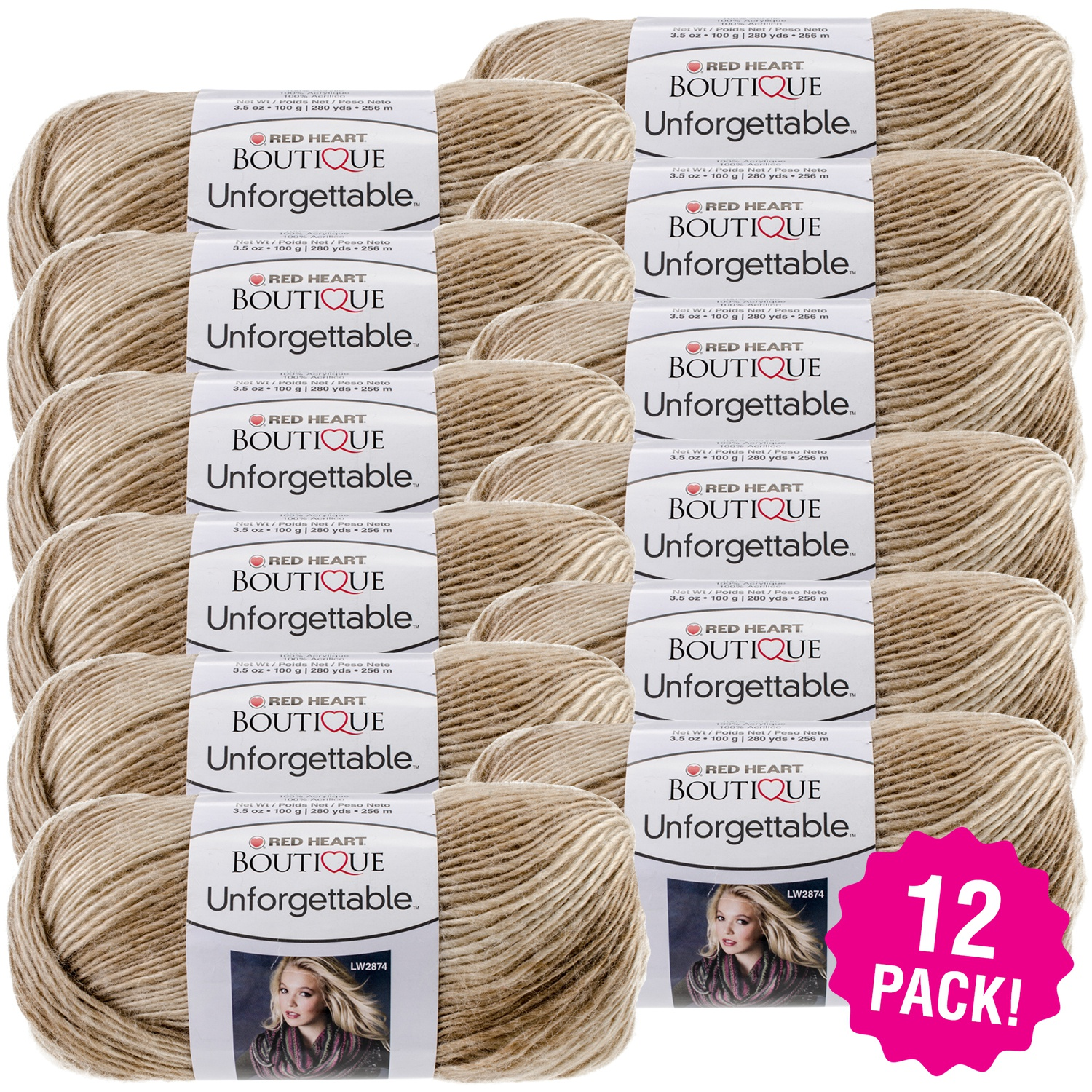 Red Heart Boutique Unforgettable Yarn - Cappuccino, Multipack of 12