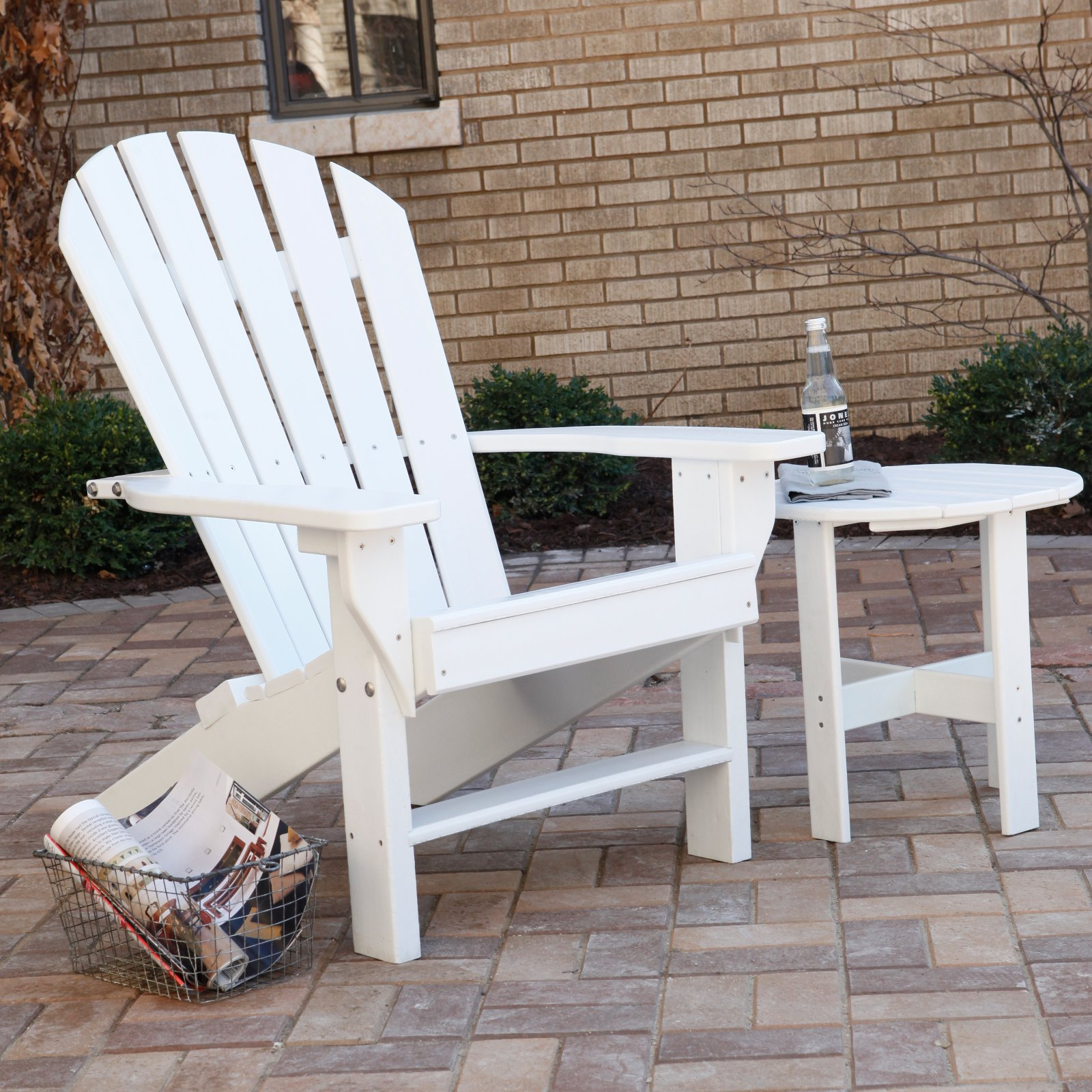 Jayhawk Plastics Recycled Plastic Seaside Adirondack Chair With Side Table