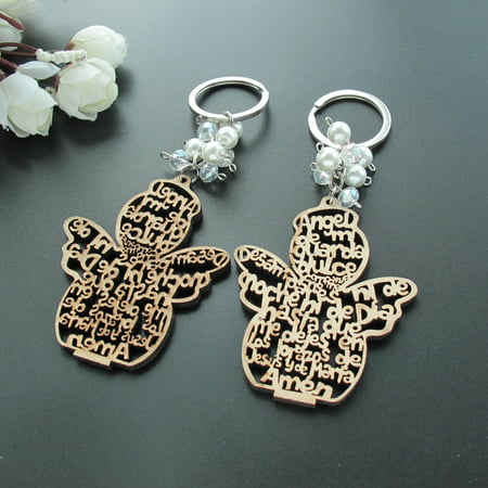 12 PCS Baptism Angel Key Ring Made from Wood /Comunion Favors for Boy or Girl Recuerdos de Bautizo With Organza Bags