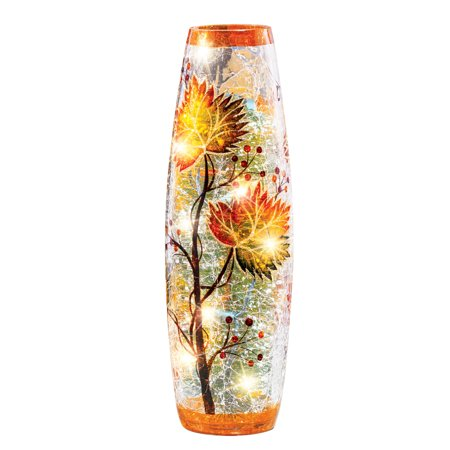 Fall Leaves Decorative Table Lamp with Cracked Glass Hurricane Cover, Yellow, Orange, Green Brown Home Décor ()