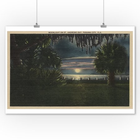 Panama City, FL - Moonlit View of St. Andrews Bay (9x12 Art Print, Wall Decor Travel Poster)