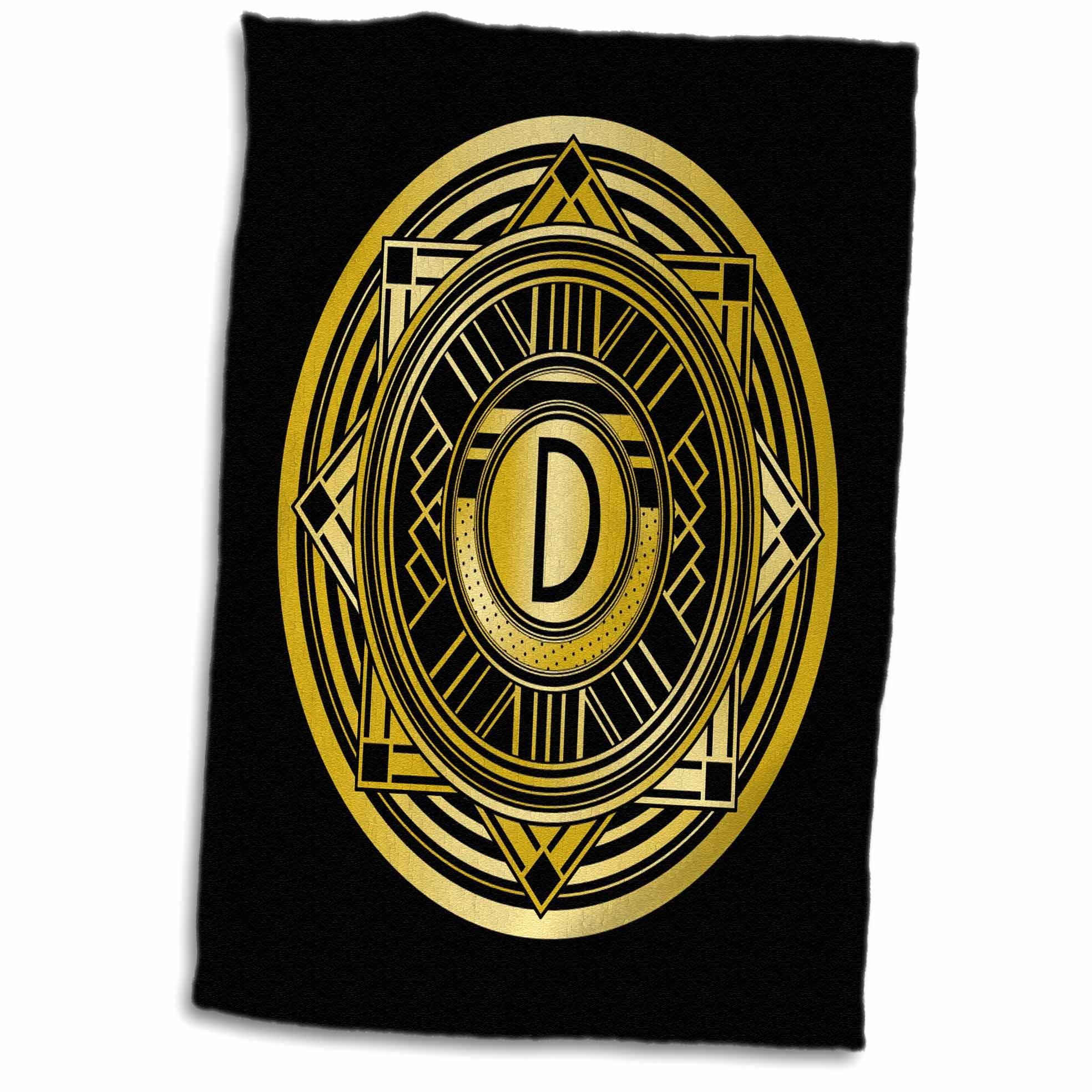 3dRose Letter D Art Deco Geometric Monogram in Faux Gold and Black - Towel, 15 by 22-inch
