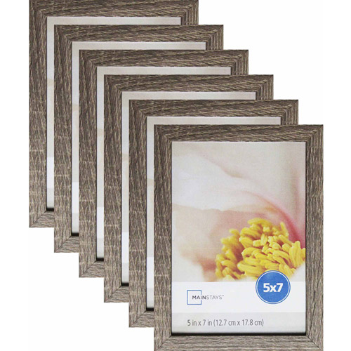 "Mainstays Linear 5"" x 7"" Rustic Frame, Set of 6"
