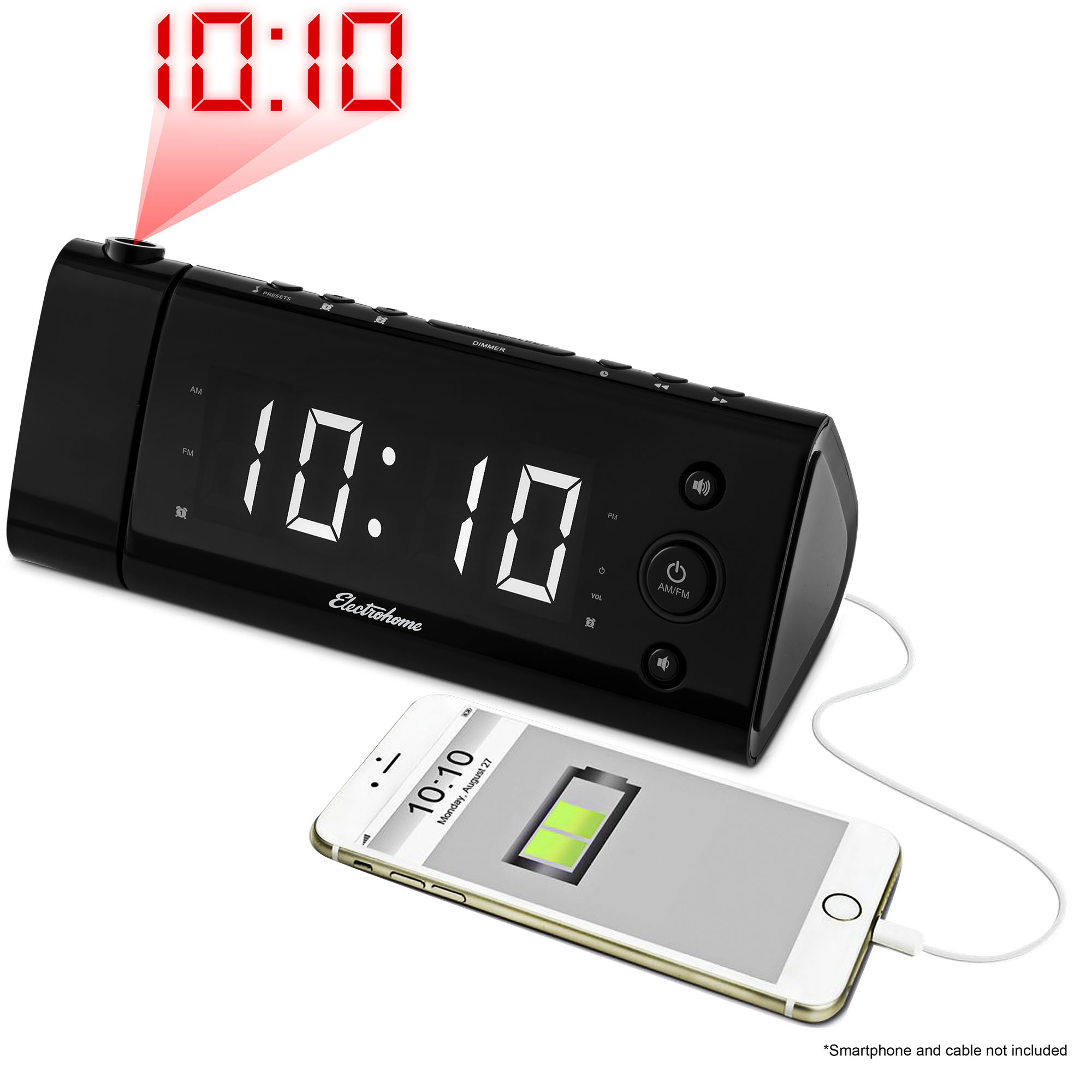 "Electrohome USB Charging Alarm Clock Radio with Time Projection, Battery Backup, Auto Time Set, Dual Alarm, 1.2"" LED Display for Smartphones & Tablets (EAAC475W)…"