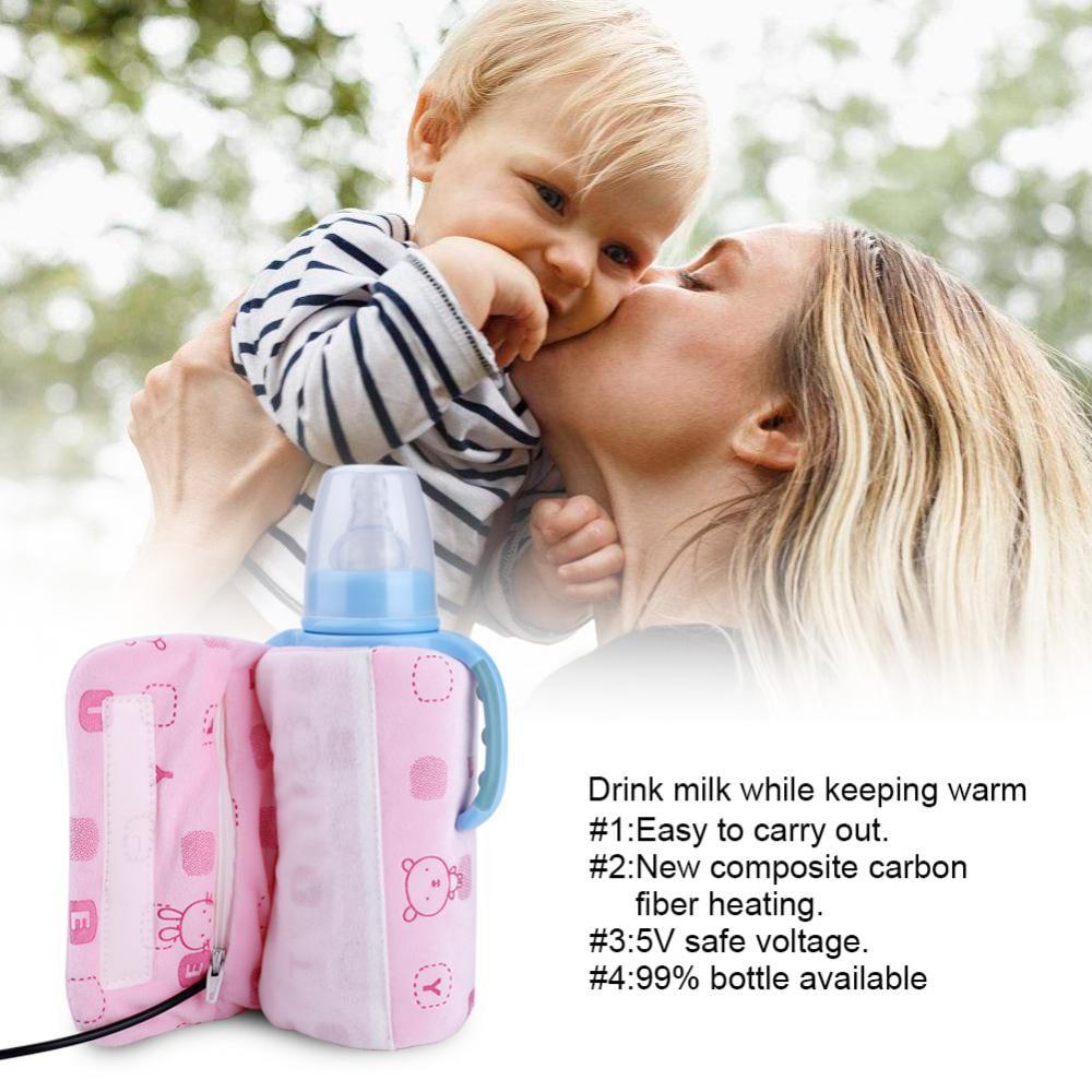 Aramox USB Portable Travel Mug Milk Warmer Heater Bottle Heater Feeding Bottle Infant Storage Bag ,Bottle Heated Cover, Milk Warmer