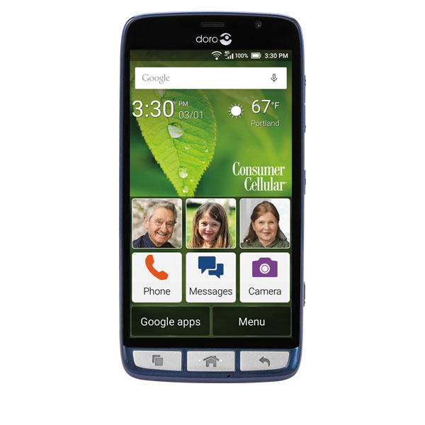 Doro 824 SmartEasy GSM Unlocked 1.2GHz Quad-Core - Senior-Friendly Android Smartphone with 5-inch Display, Blue
