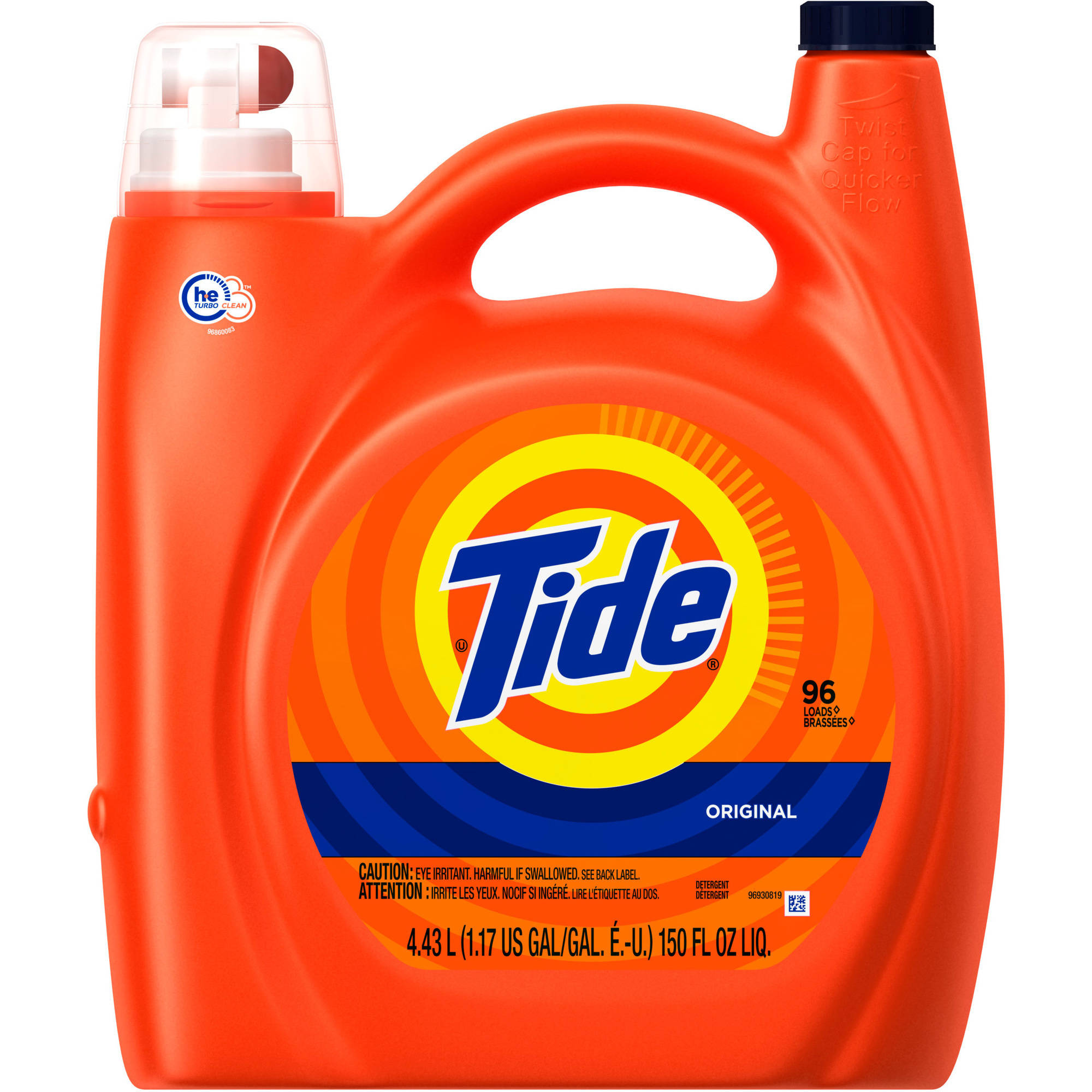 Tide Original Scent HE Turbo Clean Liquid Laundry Detergent, 96 Loads 150 oz