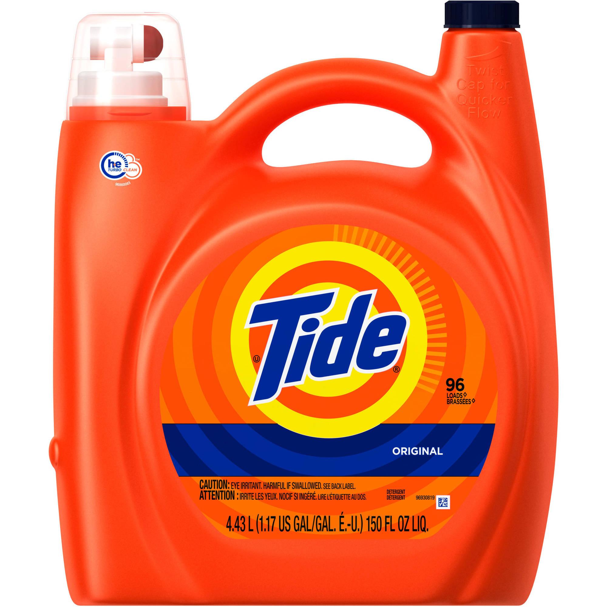 Tide Original Scent HE Turbo Clean Liquid Laundry Detergent, 96 Loads 150 oz
