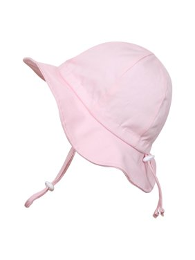 Baby Sun Hat, Size Adjustable, 50+ UPF Cotton(S: 0 - 9m, Pink)
