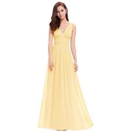 469a08eed7bd Ever-pretty - Ever-Pretty Women's Elegant Sleeveless V-Neck Semi-Formal  Maxi Evening Party Dresses for Women 09016 (Yellow 4 US) - Walmart.com