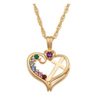 """Family Jewelry Personalized Mother's 14K Gold Over Sterling Silver Birthstone Heart Cross Necklace, 20"""""""