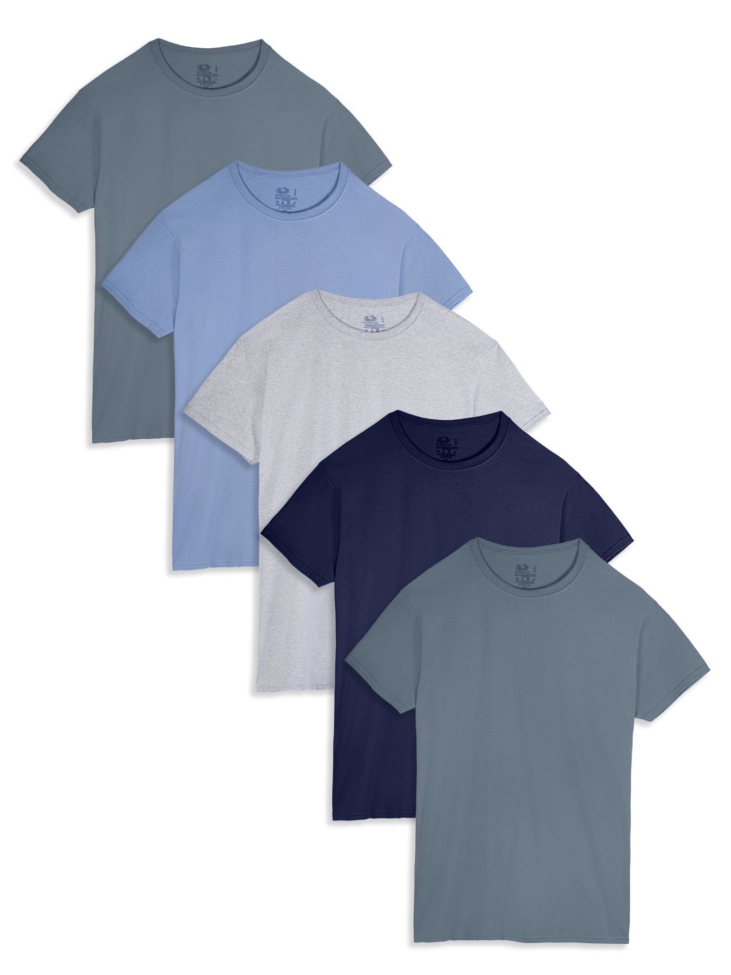 Men's Dual Defense Assorted Color Crew T-Shirts, 5 Pack