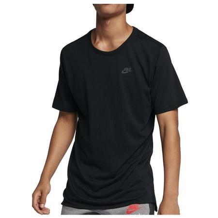 Nike Men's Drop Tail Bonded Tri-Blend Sport Casual T-Shirt-Black