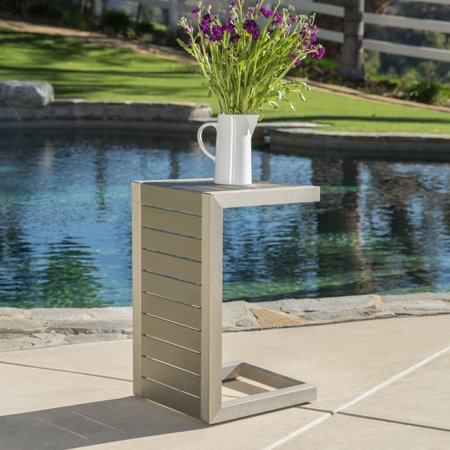 Miller Outdoor Aluminum C-Shaped End Table, Silver