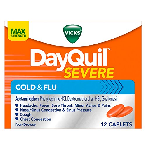 2 Pack - Vicks DayQuil Severe Cold and Flu Relief Caplets, 12 Each