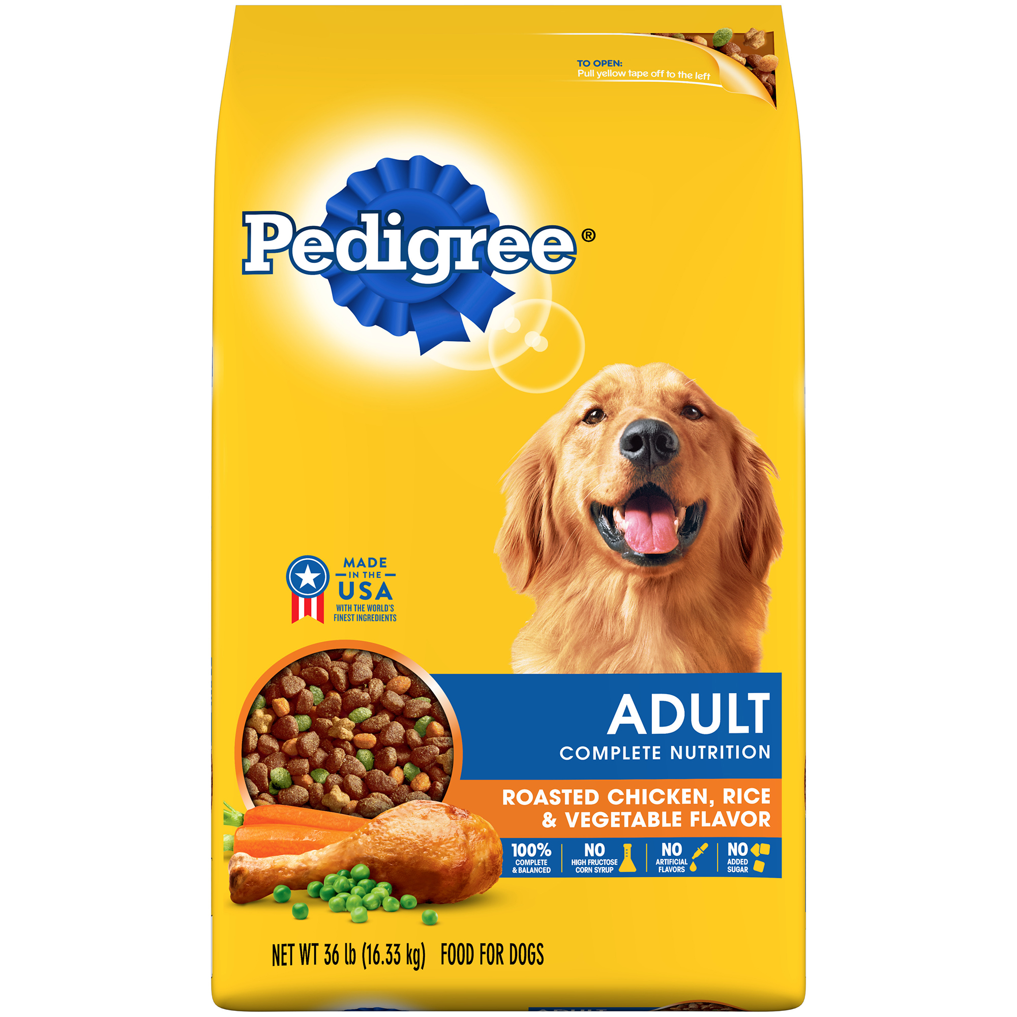 PEDIGREE Adult Complete Nutrition Roasted Chicken, Rice and Vegetable Flavor Dry Dog Food 36 Pounds