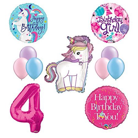 Unicorn 4th Birthday Girl Party Supplies and Balloon Decorations](Girls Party Supplies)
