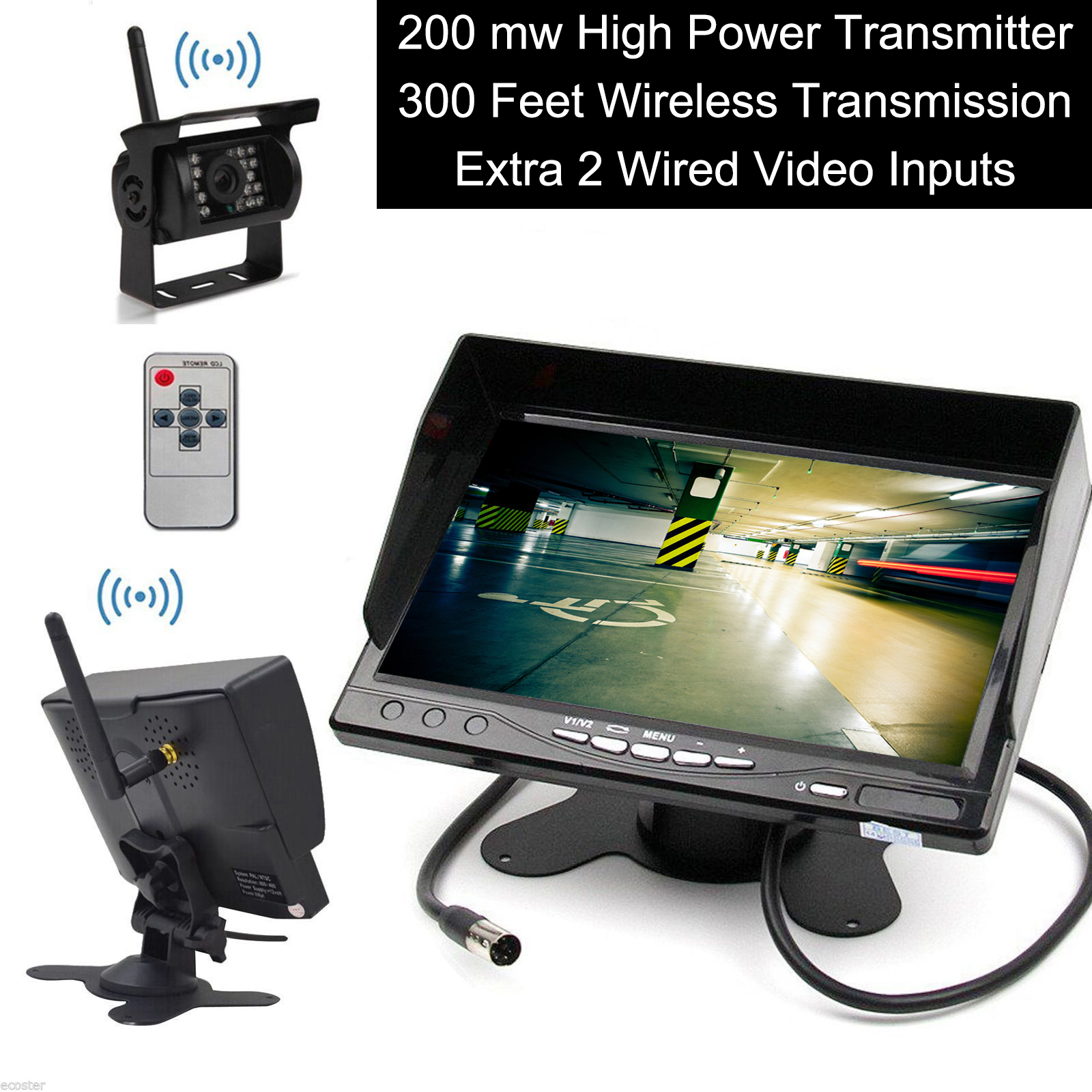 Built-in Wireless Truck Parking System - 12-24V Backup Camera + 7 inch HD
