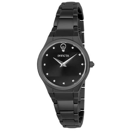 Invicta Womens Gabrielle Union Gun Metal Steel Bracelet   Case Quartz Black Dial Analog Watch 23276