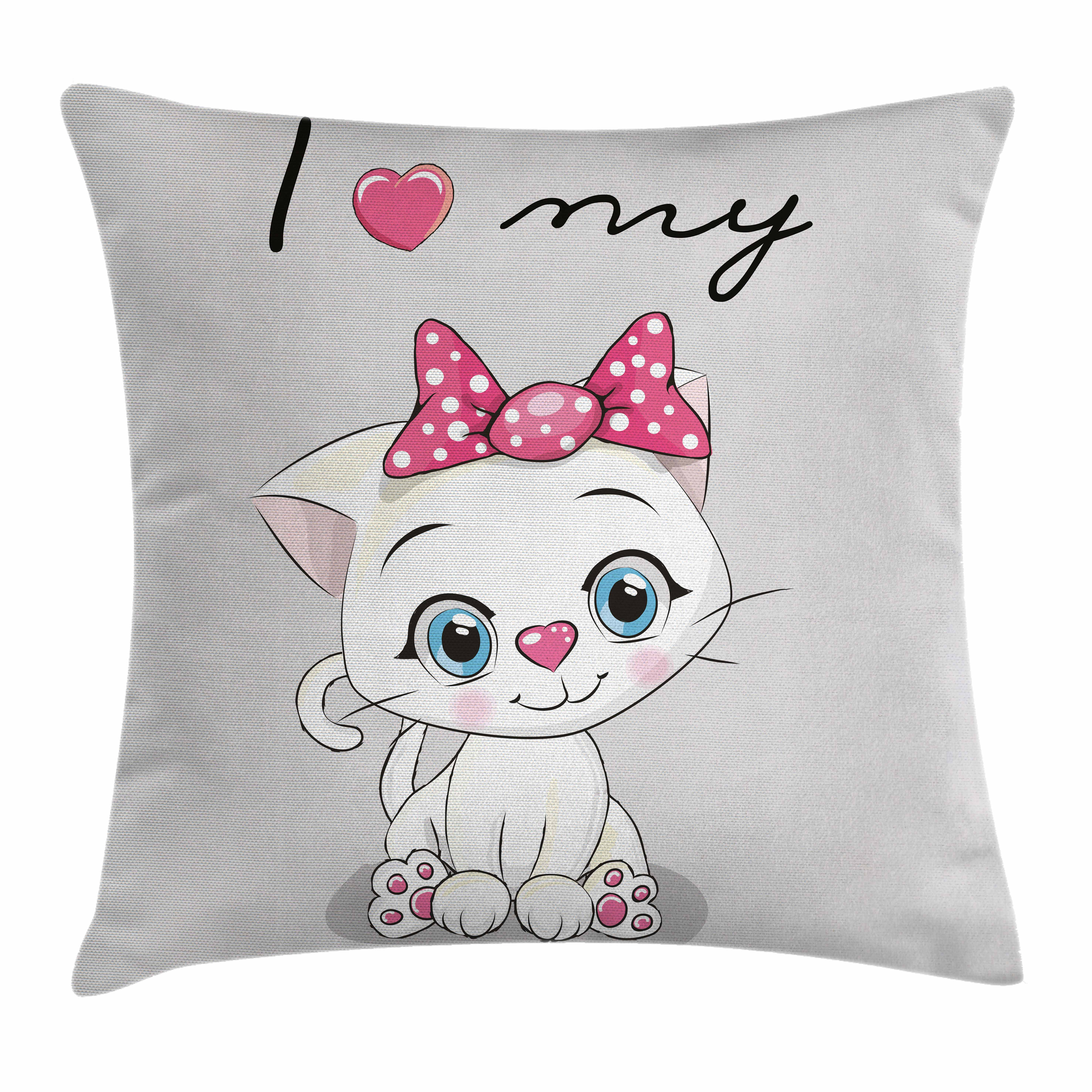 Kitten Throw Pillow Cushion Cover, Cute Cartoon Domestic White Cat Pink Cheeks Fluffy I Love My Pet Themed Print, Decorative Square Accent Pillow Case, 16 X 16 Inches, Grey White Pink, by Ambesonne