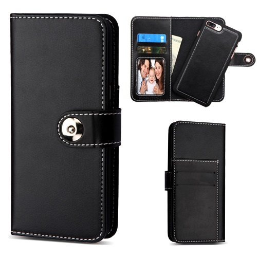 For iPhone 7 / 8 Plus Black Detachable Magnetic 2-in-1 Flip Wallet Case Cover
