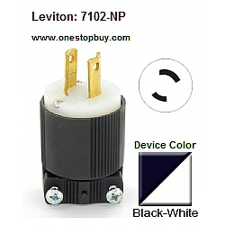 leviton 7102 np l2 20p 2 wire nylon plug black white. Black Bedroom Furniture Sets. Home Design Ideas