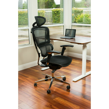 Canary Products Ergonomic Adjustable Executive Office Swivel Chair w/ High Back, Headrest, Seat Slider, Black Mesh, & Aluminum Base, 52 Inch Max Height ()