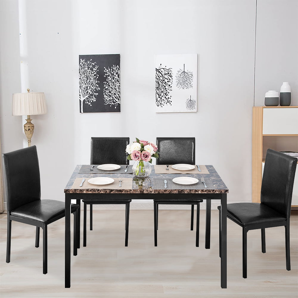 5 Piece Marble Top Dining Table Set For 4 Rectangular Table And 4 High Back Pu Leather Padded Chairs Small Space Dining Set Home Kitchen Apartment Dining Room Bar Furniture Black B1400