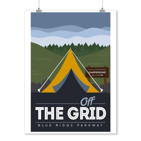 Blue Ridge Parkway - Off the Grid (Tent) - Discover the Park - Vector Style - Rounded Hills Background - Lantern Press Artwork (9x12 Art Print, Wall Decor Travel Poster)