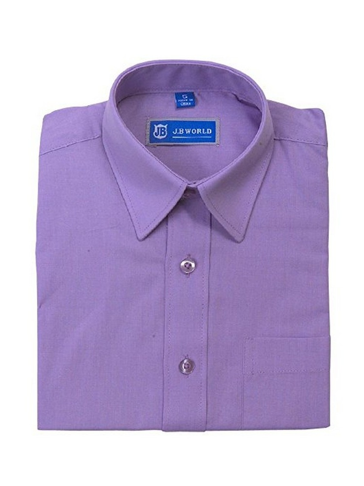JB World Boys Lavender Long Sleeve Button Front Uniform Dress Shirt