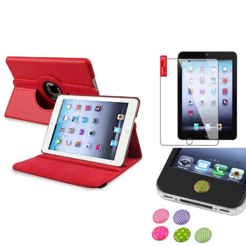 iPad Mini 3/2/1 Case, by Insten Red 360 Leather Case Cover+Protector/Sticker for iPad Mini 3 2 1